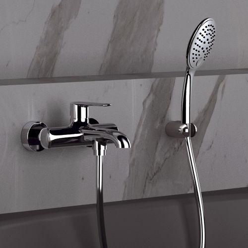 miscelatore da doccia / da vasca / da parete / in ottone cromato