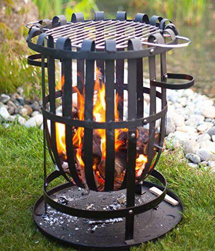 braciere da giardino a legna / in acciaio / moderno / con barbecue