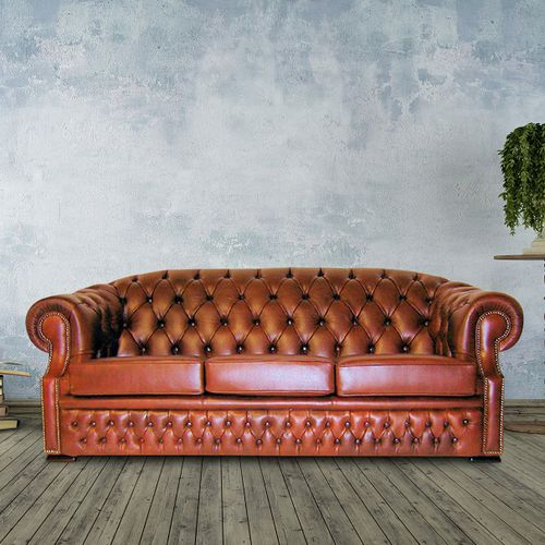 divano chesterfield / in pelle / 3 posti