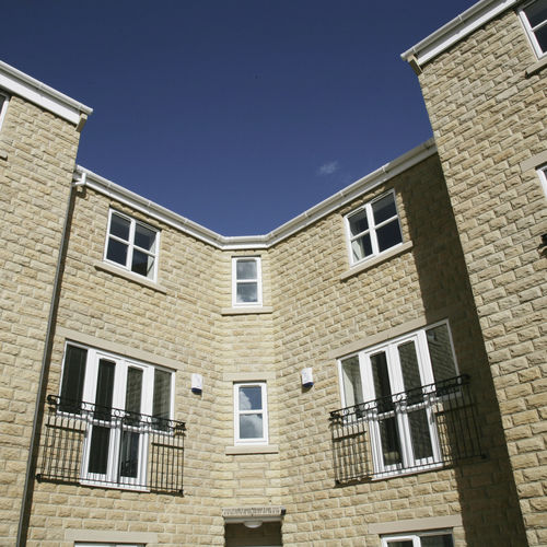 blocco di calcestruzzo pieno / per muro / per facciata / aspetto pietra