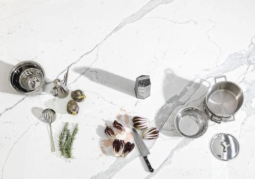 Piano di lavoro per cucina in ceramica / da esterno / da interno / antiabrasione CAVA: BIANCO STATUARIO VENATO SOFT TOUCH LAMINAM
