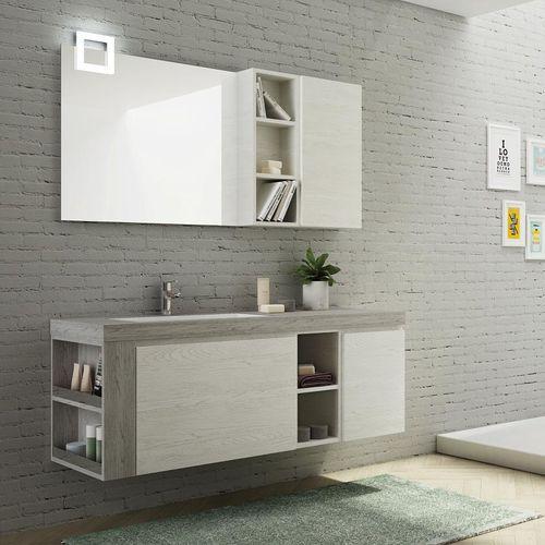 mobile lavabo sospeso / in quercia / in HPL / moderno