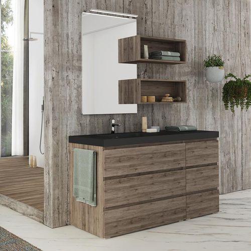 mobile lavabo da appoggio / in quercia / in resina / moderno