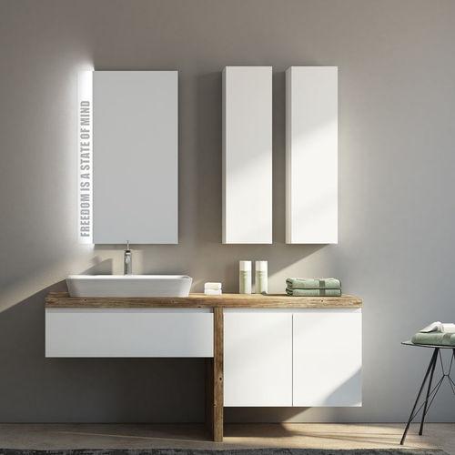 mobile lavabo sospeso / in ceramica / in legno / moderno