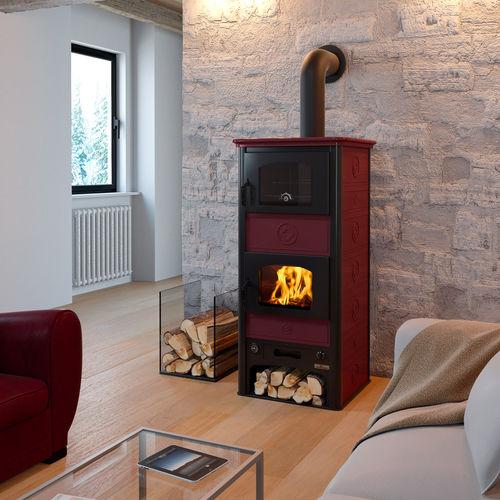 stufa-caldaia a legna / tradizionale / in acciaio / con forno