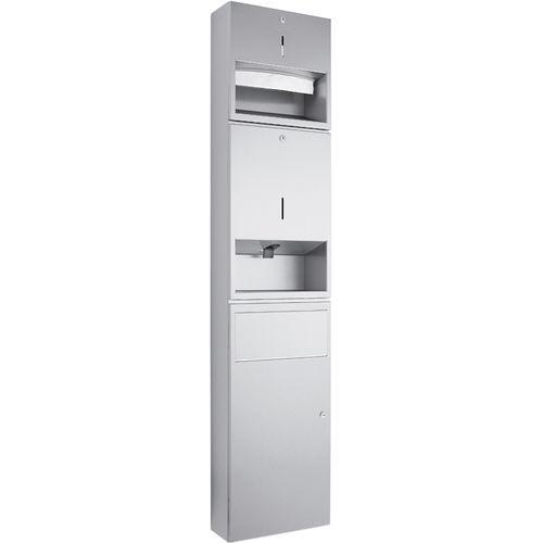 unità combinata in acciaio inossidabile / distributore di salviette / da parete / contract
