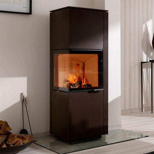 stufa-caldaia a legna / moderna / ad angolo / in metallo