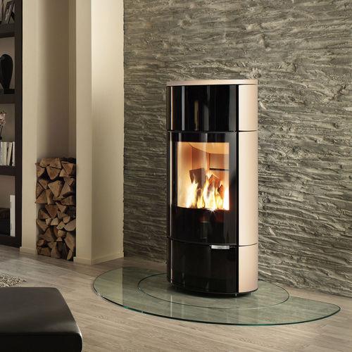 stufa-caldaia a legna / moderna / in metallo / in pietra