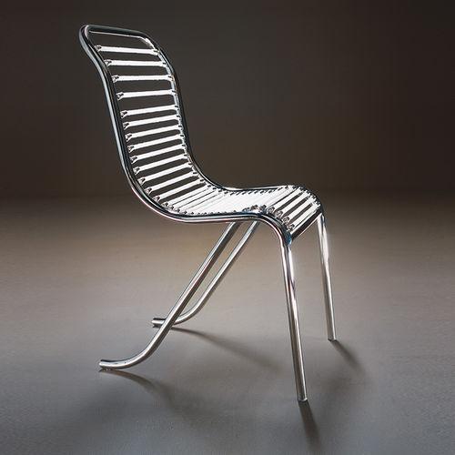 sedia design originale / in acciaio / nera