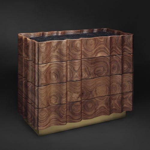cassettone design originale / in noce / in legno massiccio / in ottone