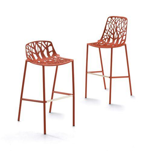 Sedia alta moderna / impilabile / in ghisa di alluminio / da esterno FOREST : 6801 by Robby & Francesca Cantarutti FAST SPA