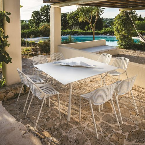 tavolo moderno / in alluminio / quadrato / da esterno