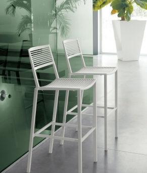 Sedia alta moderna / impilabile / in alluminio / da esterno EASY : 1601 by Centro R&D Fast FAST SPA