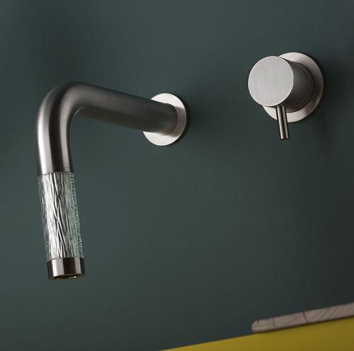 miscelatore per lavabo / da parete / da incasso / in acciaio inox