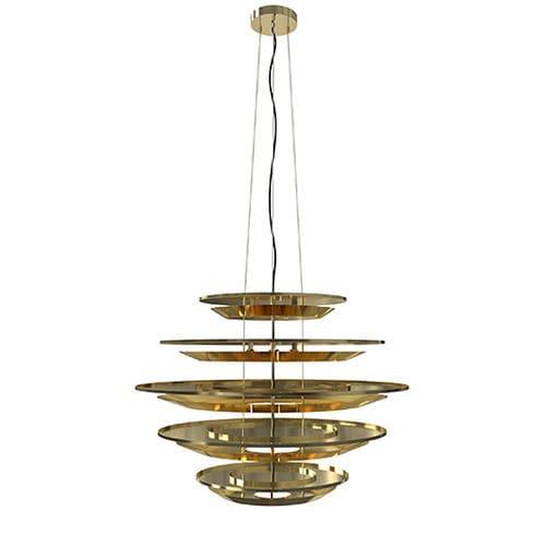 Lampadario design originale / in alluminio / in ottone placcato oro / LED HENDRIX CHANDELIER DelightFULL