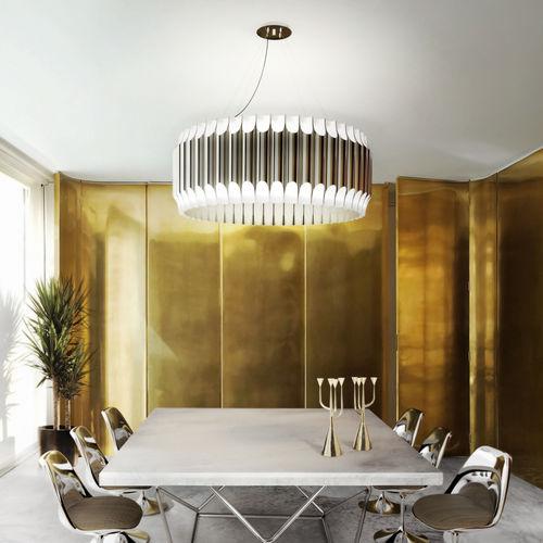 lampadario moderno / in nichel / in acciaio / fatto a mano