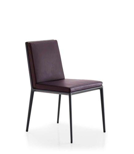 sedia moderna / imbottita / in pelle / in alluminio