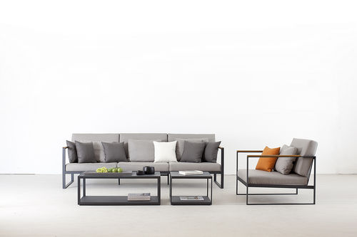 tavolino basso moderno / in teak / in acciaio inossidabile / quadrato