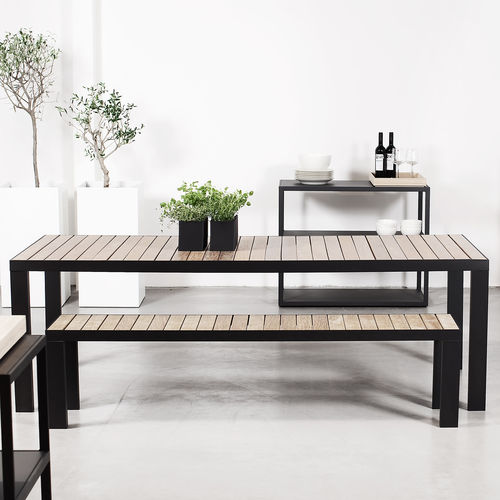 panca da giardino / moderna / in teak / in acciaio inox