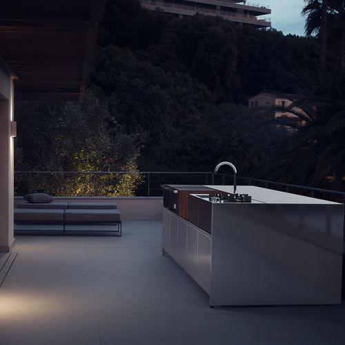 cucina moderna / in acciaio inox / con isola / modulare