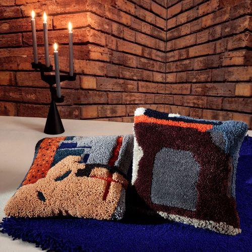 cuscino per sedia / quadrato / multicolore / in lino