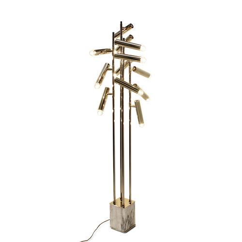 lampada da terra / moderna / in ottone placcato oro / in marmo