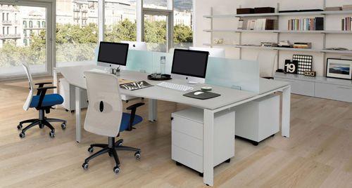 scrivania per open space / in metallo / in vetro / in melamminico