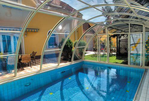 copertura per piscina alta / a parete / scorrevole / in acciaio inossidabile