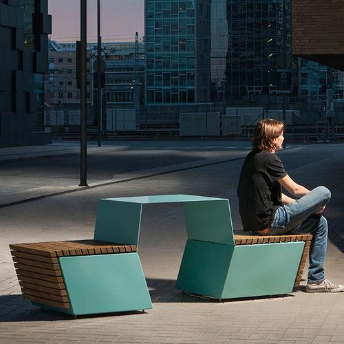tavolo da picnic moderno / in legno / in acciaio / per spazio pubblico