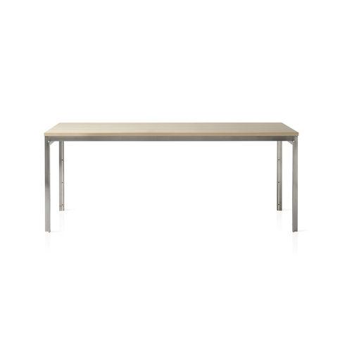 tavolo moderno / in frassino / in acciaio inossidabile spazzolato / rettangolare