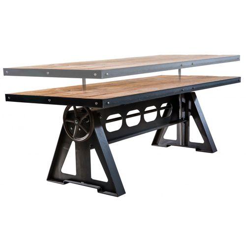 tavolo design industriale / in legno / in acciaio / rettangolare