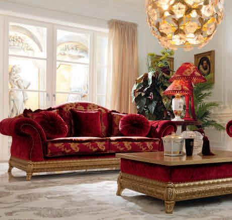 divano classico / in tessuto / 3 posti / rosso
