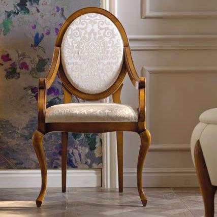 sedia classica / con braccioli / in tessuto / in legno