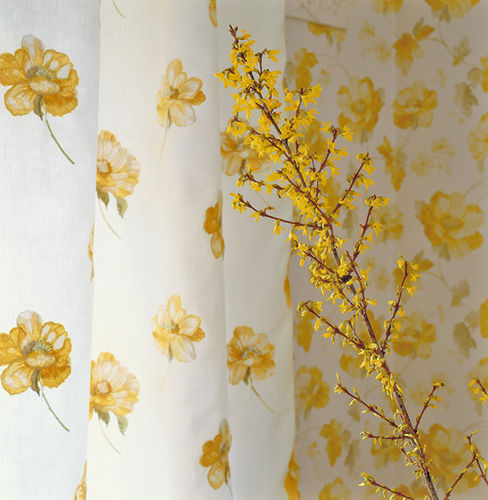 tessuto per tende / a fiori / in lino / in viscosa