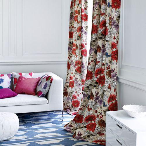 tessuto da tappezzeria / per tende / a fiori / in lino