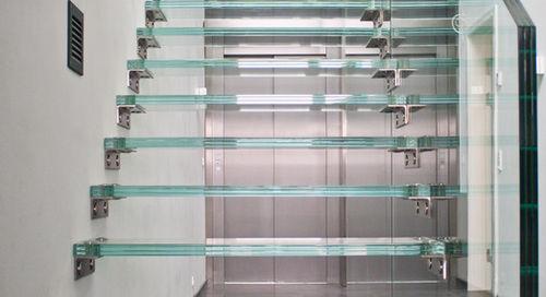 pannello in vetro float / per gradini / antiscivolo / trasparente