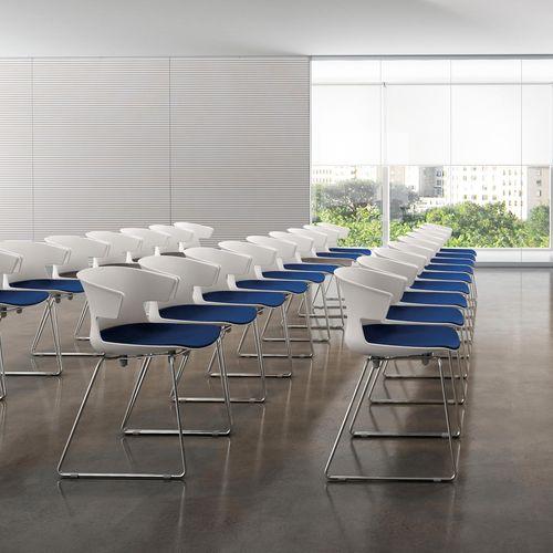 sedia da conferenza imbottito / a slitta / in tessuto