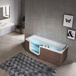 vasca da bagno da appoggio / in legno / in acrilico / idromassaggio