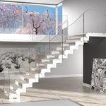 scala dritta / con gradini in legno / struttura in metallo / senza alzata