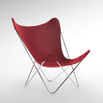 sedia da giardino moderna / in acciaio / in tessuto / rossa