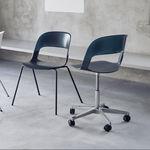 sedia visitatore moderna / in acciaio cromato / in quercia / impilabile