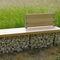 Panca pubblica / da giardino / moderna / in legno massiccio MOBILIER EVOL 1/2 DOSSIER ID GABION - L'AGENCE URBAINE