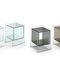 comodino moderno / in vetro / rettangolare / con contenitore