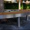 panca pubblica / moderna / in legno esotico / in acciaio inossidabile
