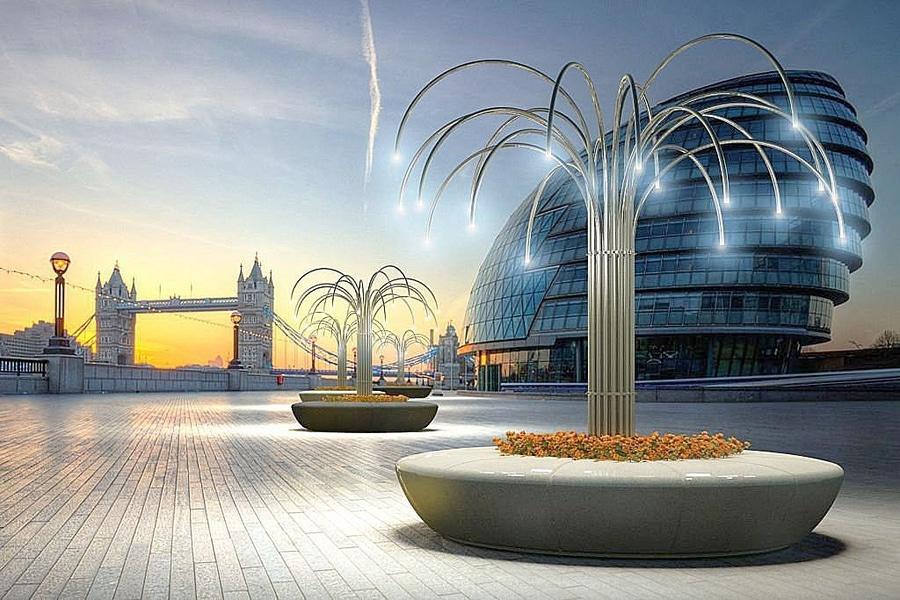 Panchina olimpo con fascio di tubi e illuminazione a led bellitalia