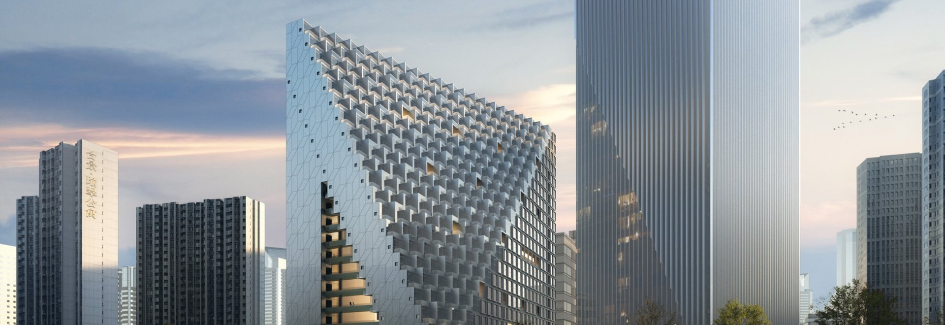 OMA prepara il terreno sul prisma di Hangzhou di xinhu nel centro direzionale futuro della città