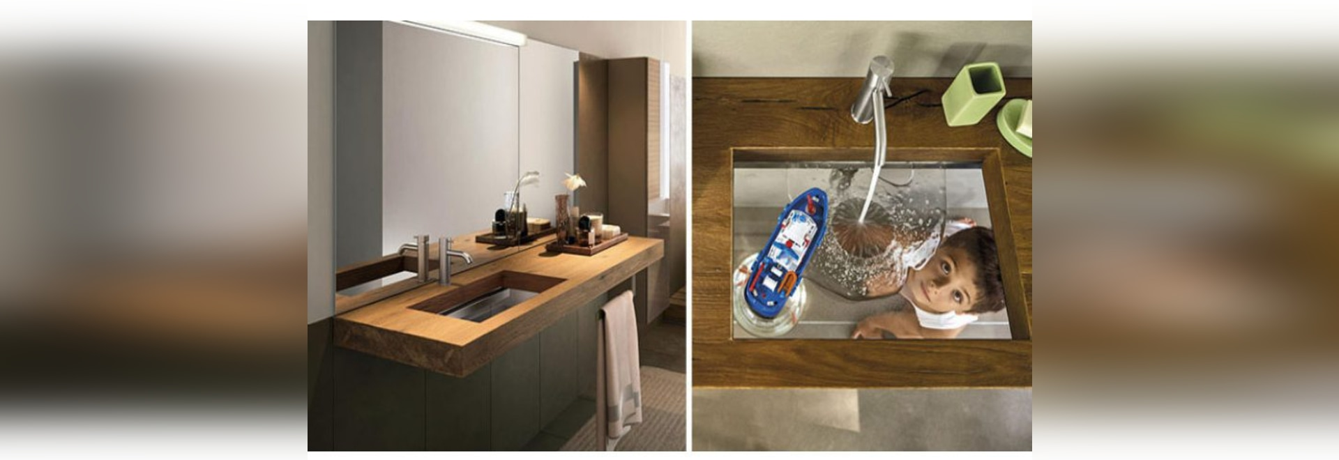 Questo lavandino del bagno è stato progettato con un fondo di vetro trasparente