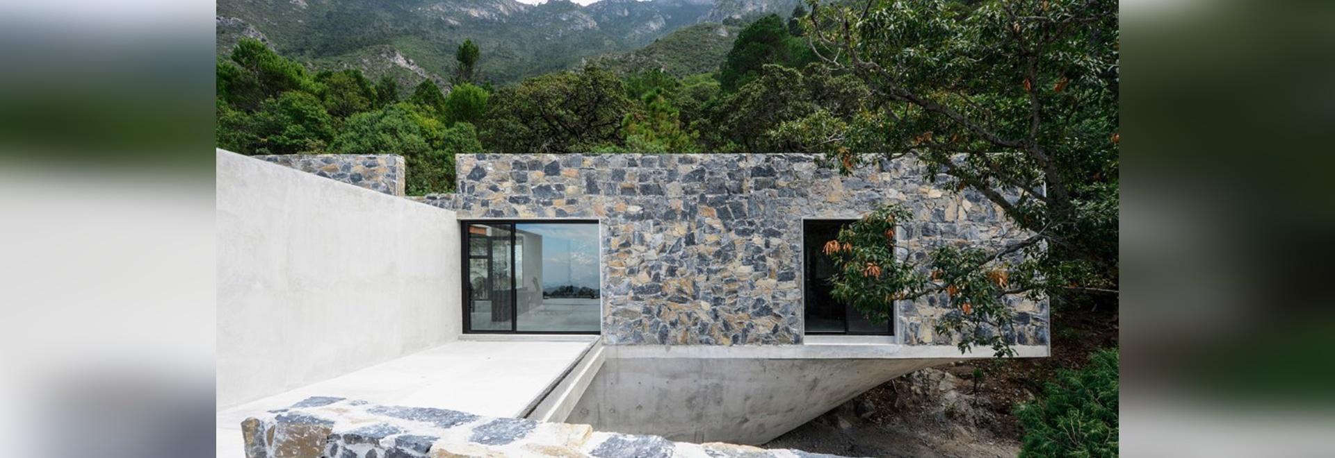 Le scatole di pietra aumentano in un chioma forestale su una base concreta scolpita