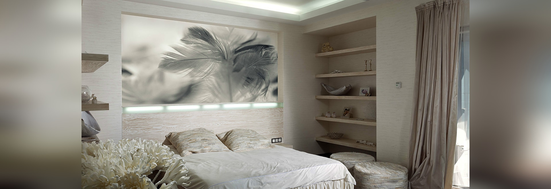 Sei belle camere da letto con gli elementi molli e d\'accoglienza di ...