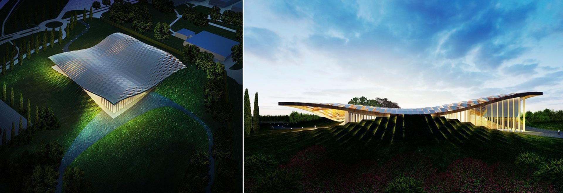 i sistemi dell'architettura aperta rivela i piani per il padiglione ad energia solare della barilla a Parma